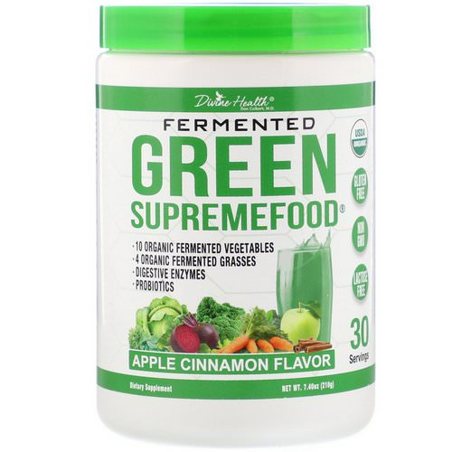 Divine Health, Fermented Green Supremefood, Apple Cinnamon, 7.40 oz (210 g) فوائد
