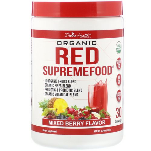 Divine Health, Organic Red SupremeFood, Mixed Berry, 6.34 oz (180 g) فوائد