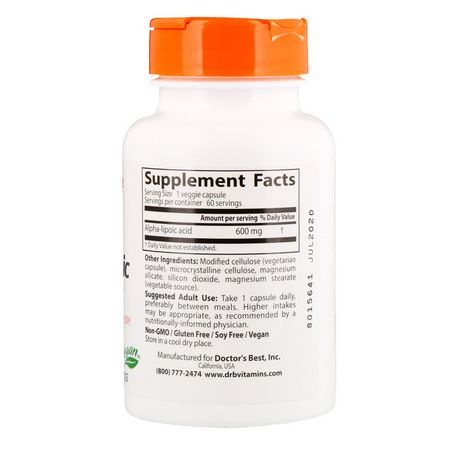 Doctor's Best, Alpha-Lipoic Acid, 600 mg, 60 Veggie Caps:حمض ألفا ليب,يك, مضادات الأكسدة