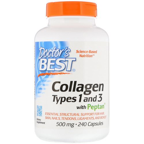Doctor's Best, Collagen Types 1 & 3 with Peptan, 500 mg, 240 Capsules فوائد