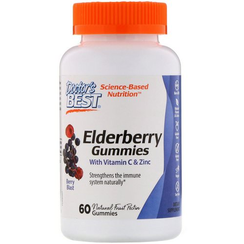 Doctor's Best, Elderberry Gummies with Vitamin C & Zinc, Berry Blast, 60 Gummies فوائد