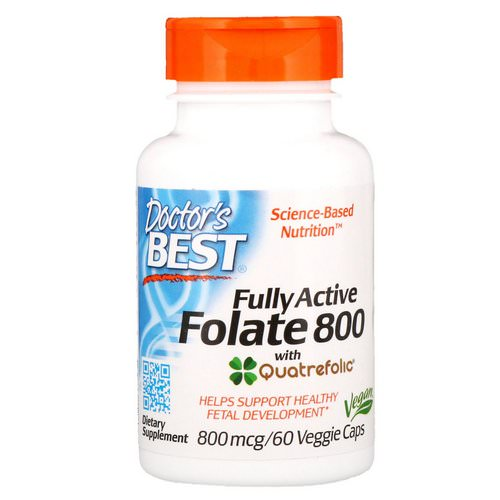 Doctor's Best, Fully Active Folate 800, 800 mcg, 60 Veggie Caps فوائد