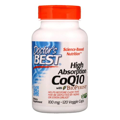 Doctor's Best, High Absorption CoQ10 with BioPerine, 100 mg, 120 Veggie Caps فوائد