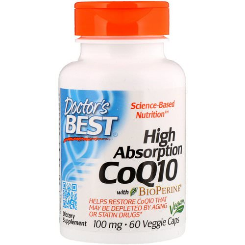 Doctor's Best, High Absorption CoQ10 with BioPerine, 100 mg, 60 Veggie Caps فوائد