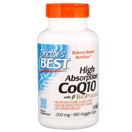 Doctor's Best, High Absorption CoQ10 with BioPerine, 200 mg, 180 Veggie Caps فوائد