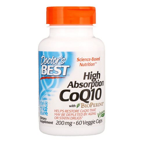 Doctor's Best, High Absorption CoQ10 with BioPerine, 200 mg, 60 Veggie Caps فوائد