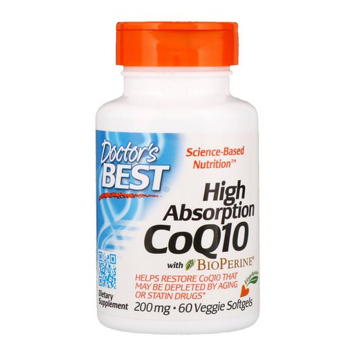 Doctor's Best, High Absorption CoQ10 with BioPerine, 200 mg, 60 Veggie Softgels فوائد