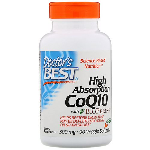 Doctor's Best, High Absorption CoQ10 with BioPerine, 300 mg, 90 Veggie Softgels فوائد