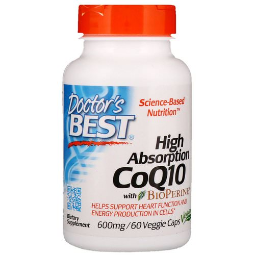 Doctor's Best, High Absorption CoQ10 with BioPerine, 600 mg, 60 Veggie Caps فوائد