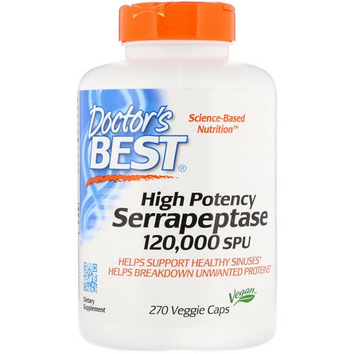 Doctor's Best, High Potency Serrapeptase, 120,000 SPU, 270 Veggie Caps فوائد