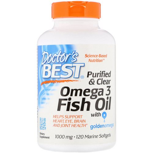 Doctor's Best, Purified & Clear Omega 3 Fish Oil with Goldenomega, 1000 mg, 120 Marine Softgels فوائد