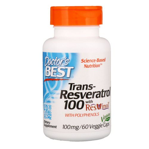 Doctor's Best, Trans-Resveratrol with Resvinol, 100 mg, 60 Veggie Caps فوائد