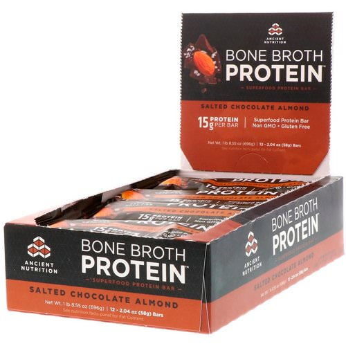 Dr. Axe / Ancient Nutrition, Bone Broth Protein Bar, Salted Chocolate Almond, 12 Bars, 2.04 oz (58 g) Each فوائد