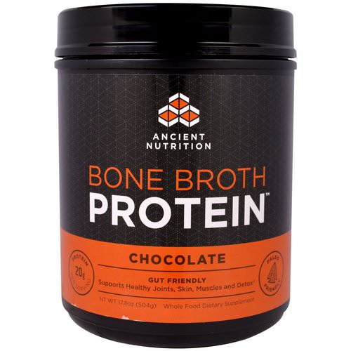 Dr. Axe / Ancient Nutrition, Bone Broth Protein, Chocolate, 17.8 oz (504 g) فوائد