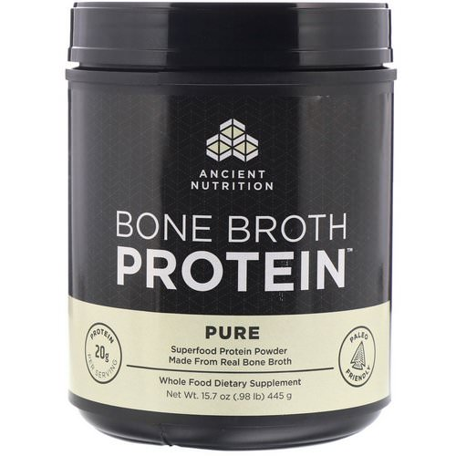 Dr. Axe / Ancient Nutrition, Bone Broth Protein, Pure, 15.7 oz (445 g) فوائد