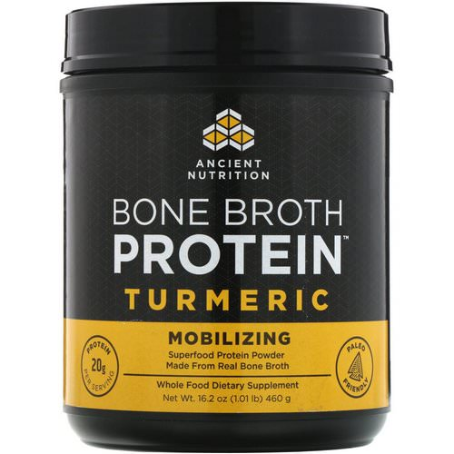 Dr. Axe / Ancient Nutrition, Bone Broth Protein, Turmeric, 16.2 oz (460 g) فوائد