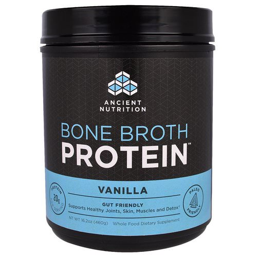 Dr. Axe / Ancient Nutrition, Bone Broth Protein, Vanilla, 16.2 oz (460 g) فوائد