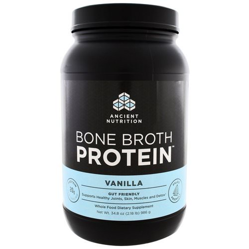 Dr. Axe / Ancient Nutrition, Bone Broth Protein, Vanilla, 2.17 lbs (986 g) فوائد