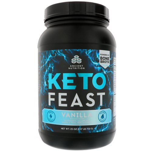 Dr. Axe / Ancient Nutrition, Keto Feast, Ketogenic Balanced Shake & Meal Replacement, Vanilla, 1.56 lbs (710 g) فوائد