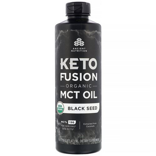 Dr. Axe / Ancient Nutrition, Keto Fusion Organic MCT Oil, Black Seed, 16 fl oz (473 ml) فوائد