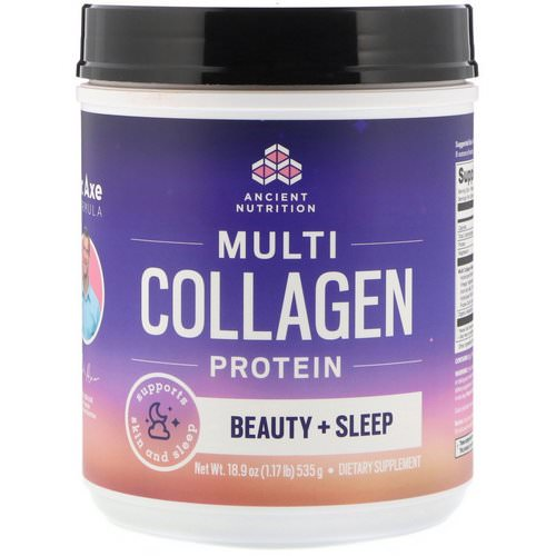 Dr. Axe / Ancient Nutrition, Multi Collagen Protein, Beauty + Sleep, Calming Natural Lavender Flavor, 1.17 lbs (535 g) فوائد