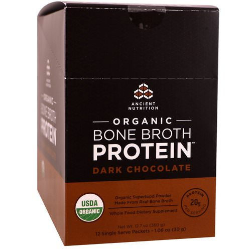 Dr. Axe / Ancient Nutrition, Organic Bone Broth Protein, Dark Chocolate, 12 Single Serve Packets, 1.06 oz (30 g) Each فوائد