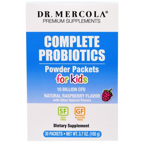 Dr. Mercola, Complete Probiotics Powder Packets for Kids, Natural Raspberry Flavor, 30 Packets, 0.12 oz (3.5 g) Each فوائد