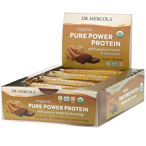 Dr. Mercola, Organic Pure Power Protein, Peanut Butter & Chocolate, 12 Bars, 1.83 oz (52 g) Each فوائد