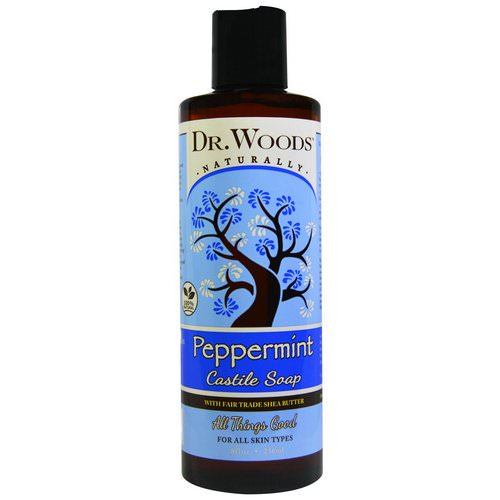 Dr. Woods, Peppermint Castile Soap with Fair Trade Shea Butter, 8 fl oz (236 ml) فوائد