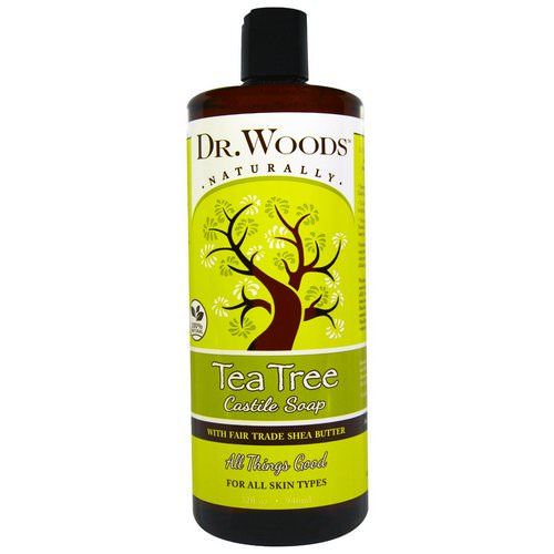 Dr. Woods, Tea Tree Castile Soap with Fair Trade Shea Butter, 32 fl oz (946 ml) فوائد