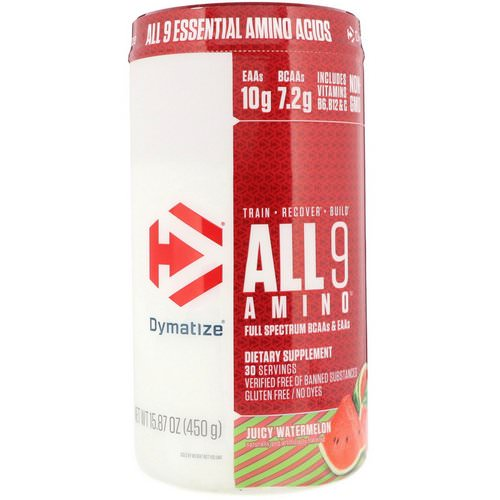 Dymatize Nutrition, All 9 Amino, Juicy Watermelon, 15.87 oz (450 g) فوائد
