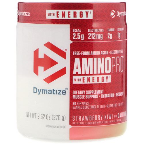 Dymatize Nutrition, AminoPro with Energy, Strawberry Kiwi with Caffeine, 9.52 oz (270 g) فوائد