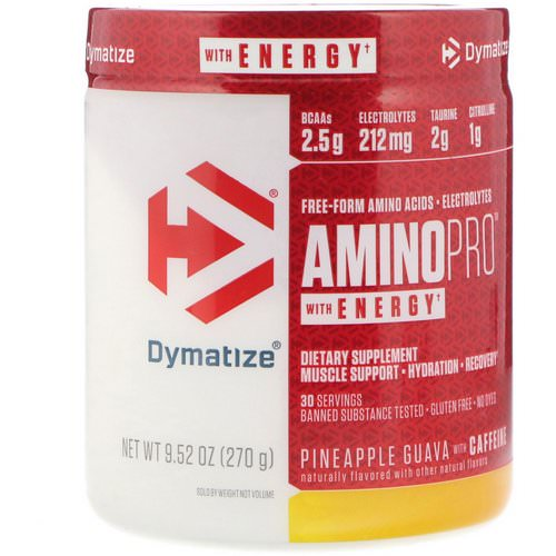 Dymatize Nutrition, AminoPro with Energy, Pineapple Guava with Caffeine, 9.52 oz (270 g) فوائد