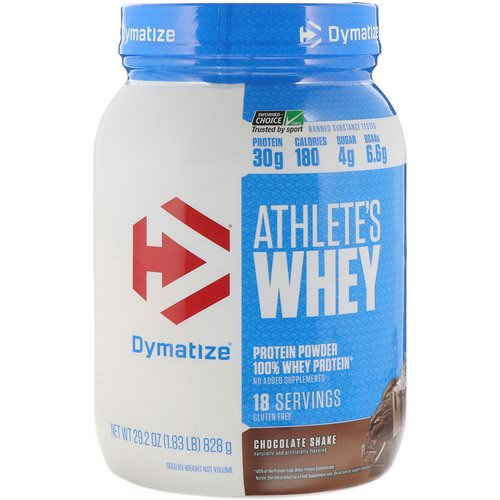Dymatize Nutrition, Athlete's Whey, Chocolate Shake, 1.83 lb (828 g) فوائد