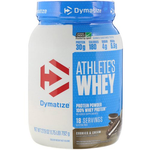 Dymatize Nutrition, Athlete's Whey, Cookies & Cream, 1.75 lb (792 g) فوائد