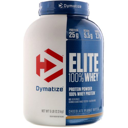 Dymatize Nutrition, Elite 100% Whey Protein Powder, Chocolate Peanut Butter, 5 lb (2.3 kg) فوائد