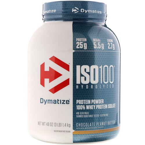 Dymatize Nutrition, ISO 100 Hydrolyzed, 100% Whey Protein Isolate, Chocolate Peanut Butter, 3 lb (1.4 kg) فوائد