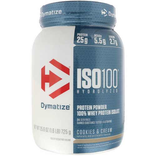 Dymatize Nutrition, ISO 100 Hydrolyzed, 100% Whey Protein Isolate, Cookies & Cream, 1.6 lbs (725 g) فوائد