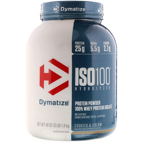Dymatize Nutrition, ISO 100 Hydrolyzed 100% Whey Protein Isolate, Cookies & Cream, 3 lbs (1.36 kg) فوائد
