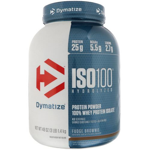Dymatize Nutrition, ISO 100 Hydrolyzed, 100% Whey Protein Isolate, Fudge Brownie, 3 lbs (1.4 kg) فوائد