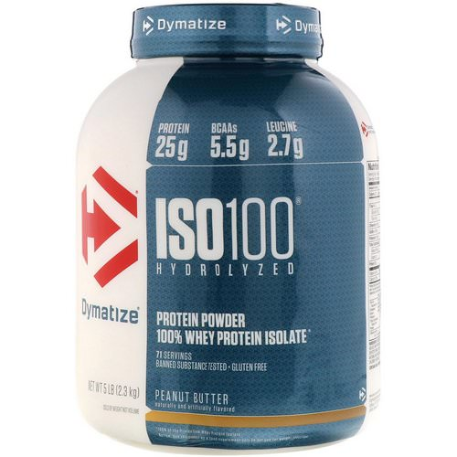 Dymatize Nutrition, ISO 100 Hydrolyzed, 100% Whey Protein Isolate, Peanut Butter, 5 lb (2.3 kg) فوائد