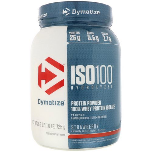 Dymatize Nutrition, ISO 100 Hydrolyzed, 100% Whey Protein Isolate, Strawberry, 1.6 lbs (725 g) فوائد