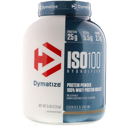 Dymatize Nutrition, ISO100 Hydrolyzed, 100% Whey Protein Isolate, Cookies & Cream, 5 lbs (2.3 kg) فوائد