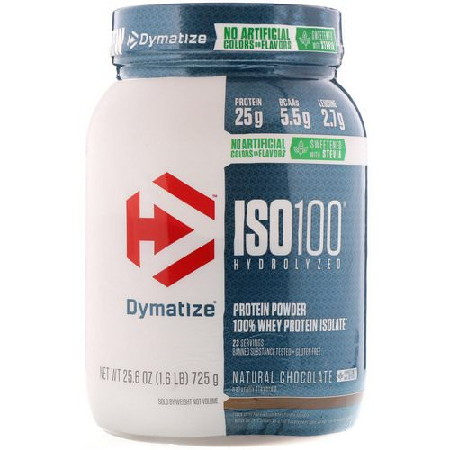 Dymatize Nutrition, ISO100 Hydrolyzed, 100% Whey Protein Isolate, Natural Chocolate, 1.6 lbs (725 g) فوائد