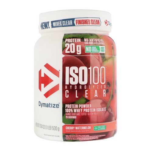 Dymatize Nutrition, ISO100 Hydrolyzed Clear, 100% Whey Protein Isolate, Cherry Watermelon, 1.1 lb (500 g) فوائد