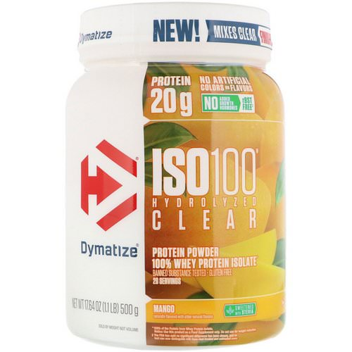 Dymatize Nutrition, ISO100 Hydrolyzed Clear, 100% Whey Protein Isolate, Mango, 1.1 lb (500 g) فوائد