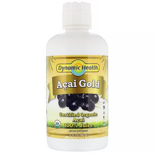 Dynamic Health Laboratories, Certified Organic Acai Gold, 100% Juice, 32 fl oz (946 ml) فوائد