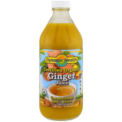 Dynamic Health Laboratories, Certified Organic Ginger, 100% Juice, Unsweetened, 16 fl oz (473 ml) فوائد
