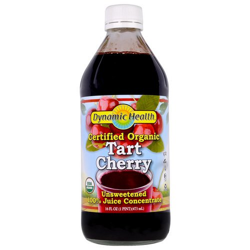 Dynamic Health Laboratories, Certified Organic Tart Cherry, 100% Juice Concentrate, Unsweetened, 16 fl oz (473 ml) فوائد