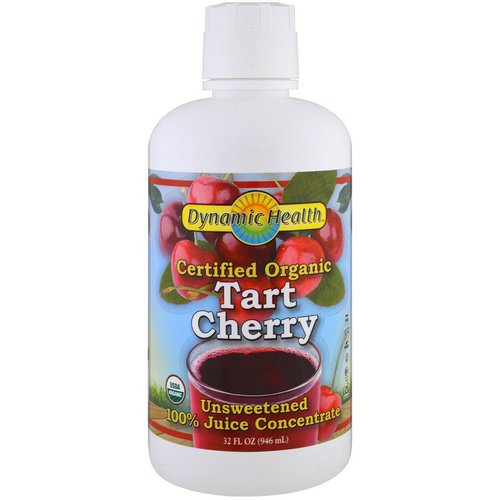 Dynamic Health Laboratories, Certified Organic Tart Cherry, 100% Juice Concentrate, Unsweetened, 32 fl oz (946 ml) فوائد